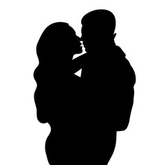 Couple in love silhouette, lovers beautiful man and woman hugging and are going to kiss outlines, icon, black and white outline drawing, shape, vector illustration isolated on white background