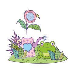cute toad with flowers garden character