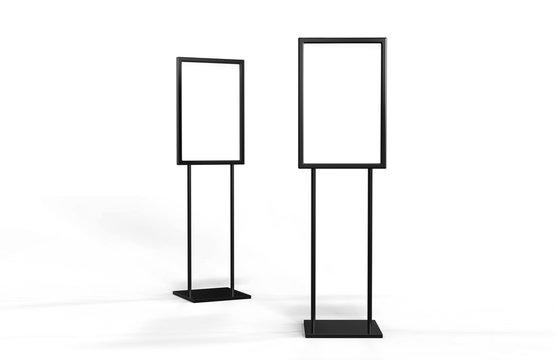 Indoor Pedestal Steel Sign Stand poster banner advertisement Display, Lobby Menu Board, 3D Illustration