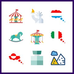 9 attraction icon. Vector illustration attraction set. cologne and luxemburg icons for attraction works