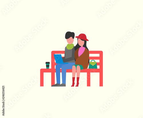 Swell Couple Sitting On Wooden Bench Working On Pc Laptop Vector Bralicious Painted Fabric Chair Ideas Braliciousco