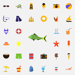 a fish flat icon. colored Summer icons universal set for web and mobile