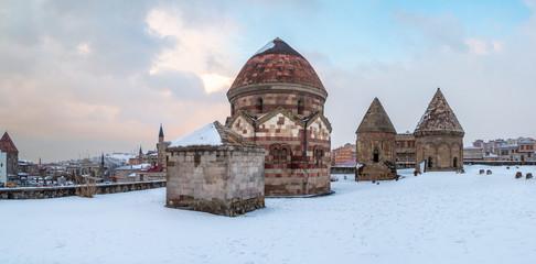 Panoramic image of three kumbets historical tombs in Erzurum, Turkey