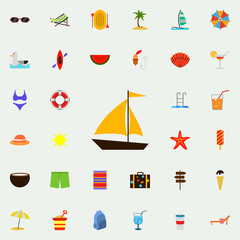 sailboat flat icon. colored Summer icons universal set for web and mobile