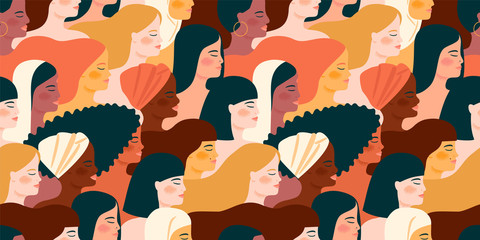 International Womens Day. Vector seamless pattern with with women different nationalities and cultures.
