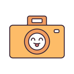 Smiling photo camera color icon