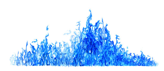 long blue flame isolated on white