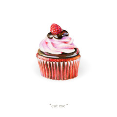 Sweet red cupcake with cream, chocolate and raspberry isolated on white background. Illustration for Valentine's Day, banner for promo actions, offers, sales and other.