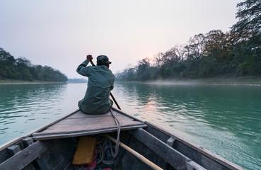 River safari, Rapti River, Chitwan National Park, Nepal, Asia, Unesco World Heritage Site