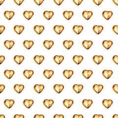 Seamless pattern with chocolate heart in gold foil on white background. Use for textile, wrapping paper, wallpaper, and other design. Drawing with colorful pencils.