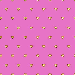Seamless pattern with chocolate heart in gold foil on pink background. Use for textile, wrapping paper, wallpaper, and other design. Drawing with colorful pencils.