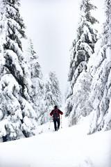 Men trekking in the mountains. Winter mountain landscape.
