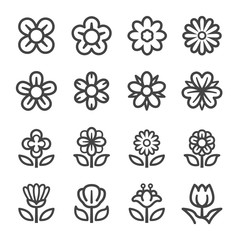 flower thin line icon set,vector and illustration