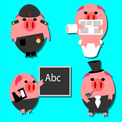 Set of funny cartoon characters, pig stickers