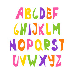 Hand drawn alphabet, Latin capital letters. Set of colorful bright letters for inscriptions. Vector illustration.