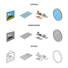 Vector illustration of bedroom and room sign. Set of bedroom and furniture stock vector illustration.