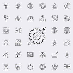 gear and pencil icon. Startup icons universal set for web and mobile