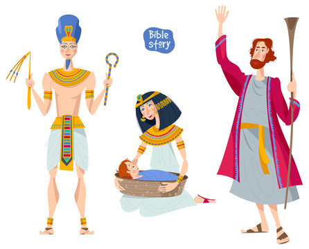 Bible story. Passover Haggadah. Pharaoh. Pharaoh's daughter finds the basket with Moses. Hebrew prophet Moshe.
