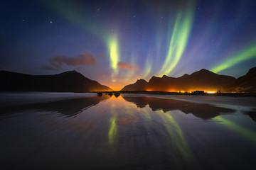 Lofoten aurora above moutains stars sea