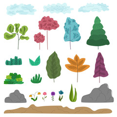 Big set of colorful abstract trees, grass, rocks, clouds, flowers, ground. Fantasy cartoon nature elements for game design, educational apps, package, eco banners decoration