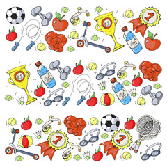 Vector pattern with sport elements. Fitness, games, exercises.