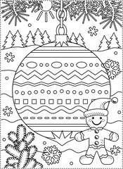 Winter holidays coloring page for kids and grown-ups with decorated ornament, fir tree branches, snowbanks and snowflakes