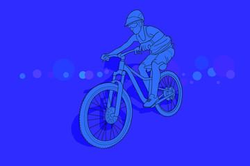 Mujer en bicicleta de montaña