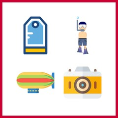 4 hobby icon. Vector illustration hobby set. zeppelin and photo camera icons for hobby works