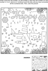 Winter holidays themed connect the dots picture puzzle and coloring page - Happy New Year! greeting text. Answer included.
