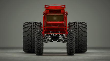 Vecchia carrozza rossa steampunk senza cavalli, con ruote giganti da fuoristrada, illustrazione 3d, rendering 3d