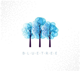 Blue trees in abstraction style with white snow or floral elements.
