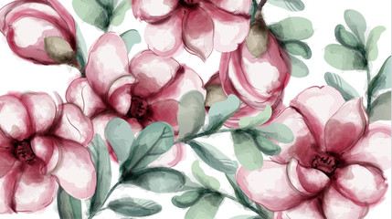 Tropic flowers background Vector watercolor. Delicate summer card templates