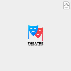 theater mask actor logo template vector icon element