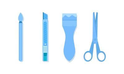 art equipment tools with paint cutter scissors vector illustration eps10