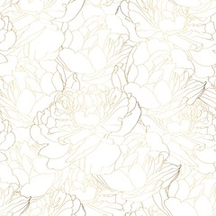 Beautiful backdrop with blooming tulips flowers, hand drawn with golden contour lines on white background. Gorgeous floral decoration. Botanical illustration.
