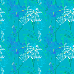 Iris flowers vector seamless pattern flowered background of botany texture