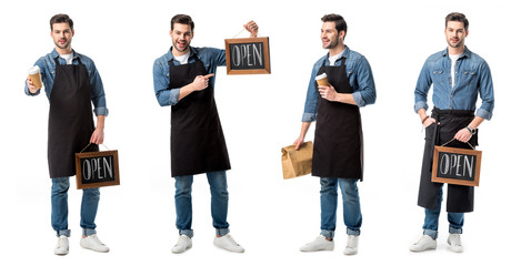 collage of handsome salesperson in apron holding sign, cup of coffee and paper bag isolated on white Wall mural