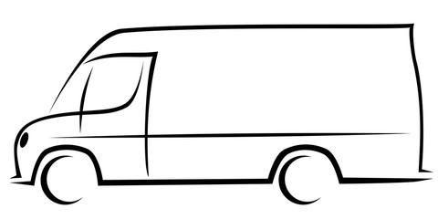 Dynamic vector illustration of a delivery van with a body typical for American postal companies