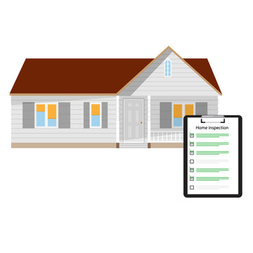 Home inspection checklist paper on clipboard and house home building. Real Estate Inspection Report