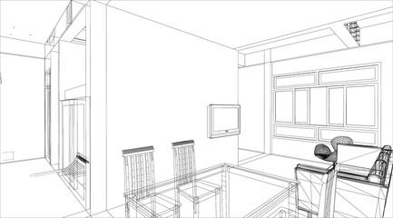 sketch design of interior dining room, vector