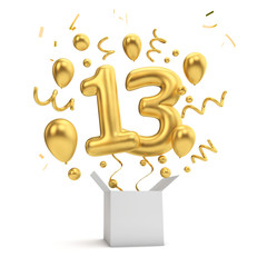 Happy 13th birthday gold surprise balloon and box. 3D Rendering