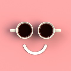 Top view of a cup of coffee in the form of smile isolated on pink background, Coffee concept illustration, 3d rendering