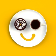 Top view of a cup of coffee with cake in the form of smile isolated on yellow background, Coffee concept illustration, 3d rendering