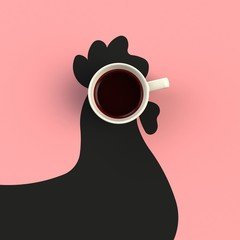 Top view of a cup of coffee in the form of chicken isolated on pink background, Coffee concept illustration, 3d rendering