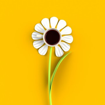 Top view of a cup of coffee in the form of flower isolated on yellow background, Coffee concept illustration, 3d rendering