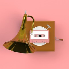 Close up of vintage audio tape cassette with gramophone concept illustration on pink background, Top view with copy space, 3d rendering