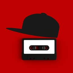 Close up of vintage audio tape cassette with hat concept illustration on red background, Top view with copy space, 3d rendering