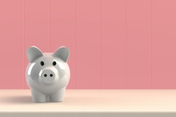 Close up of piggy bank isolated on pink background, Copy space, Finance concept, 3d rendering