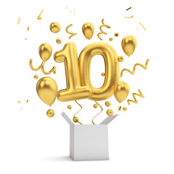 Happy 10th birthday gold surprise balloon and box. 3D Rendering
