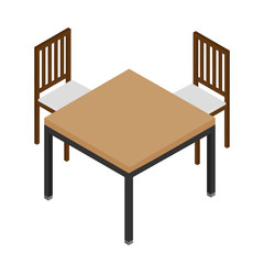 Isometric wooden table and two chairs isolated on white. Interior design elements. Furniture